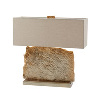 Dimond Lighting Slate Slab 2 Light Table Lamp in Nickel and Gold Aluminium and Fabric 468-025
