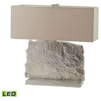 Dimond Lighting Slate Slab 2 Light LED Table Lamp in Nickel Aluminium and Fabric 468-026-LED