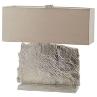 Dimond Lighting Slate Slab 2 Light Table Lamp in Nickel Aluminium and Fabric 468-026