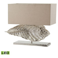Dimond Lighting Wide Leaf 2 Light LED Table Lamp in Nickel Aluminium and Fabric 468-030-LED