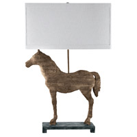 Carved Horse 31 inch 100 watt Natural Table Lamp Portable Light