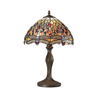 Dragonfly 19 inch 60 watt Tiffany Bronze Table Lamp Portable Light in Incandescent