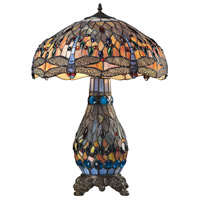 Dragonfly 26 inch 60 watt Tiffany Bronze Table Lamp Portable Light in Incandescent
