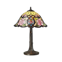 Rosedale 22 inch 60 watt Tiffany Bronze Table Lamp Portable Light in Incandescent