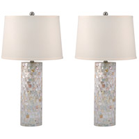 Signature 28 inch 100 watt Mother of Pearl Table Lamp Portable Light, Set of 2