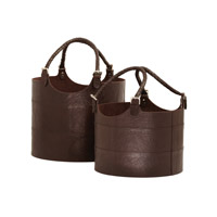 Lazy Susan by Dimond Nested Leather Bucket in Brown 819007
