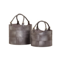 Dimond Home Nested Buckets Boxes and Bins in Silver Genuine Leather 819008