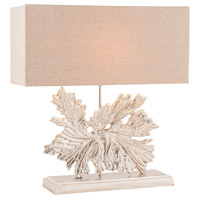 Fallen Leaf 24 inch 60 watt Textured Nickel Table Lamp Portable Light