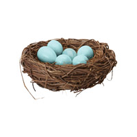European Blue Sculpture, Starling Eggs In Nest