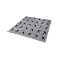 Eton Black And White Rug in 6 in. Square, Handwoven, Flatweave