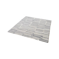 Slate Grey And White Rug in 6 in. Square, Handtufted