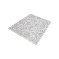 Harappa Silver And Ivory Rug in Silver & Ivory, 6 in. Square, Handknotted