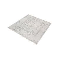 Belleville Antique Ivory,Silver Rug in Antique Ivory & Silver, 6 in. Square, Handknotted