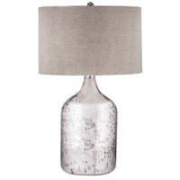 Dimond Lighting Jug 1 Light Table Lamp in Antique Mercury Glass with Taupe Linen Shade 8983-023