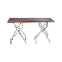 Lazy Susan by Dimond Lighting Stick Leggy Console Table in Sheemsham Wood and Stainless Steel 8987-012