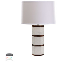 Dimond Lighting 8989-008-HUE-B White Marble and Wood Hexagon 25 inch 60 watt White Marble/Wood Tone Table Lamp Portable Light in Hue LED, Bridge, Philips Friends of Hue
