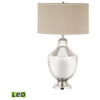 Dimond Lighting Massive Brass Urn 1 Light LED Table Lamp in Polished Nickel with Natural Linen Shade 8991-001-LED