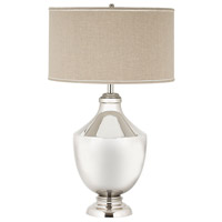 Dimond Lighting Massive Brass Urn 1 Light Table Lamp in Polished Nickel with Natural Linen Shade 8991-001