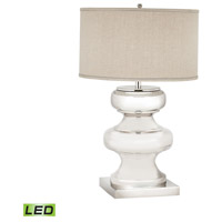 Dimond Lighting Massive Turned Brass 1 Light LED Table Lamp in Polished Nickel with Natural Linen Shade 8991-002-LED