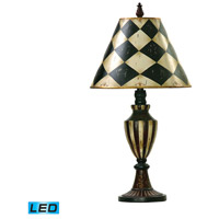 Harlequin And Stripe Urn 29 inch 13.5 watt Black / Antique White Table Lamp Portable Light in LED