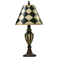 Harlequin And Stripe Urn 29 inch 150 watt Black / Antique White Table Lamp Portable Light in Incandescent