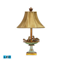 Love Birds In Bath 26 inch 13.5 watt Gold Leaf / Grantsmoth Green Table Lamp Portable Light in LED