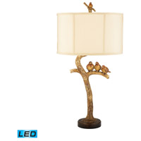 Three Bird Light 31 inch 13.5 watt Gold Leaf / Black Table Lamp Portable Light in LED