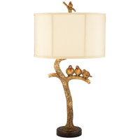 Three Bird 31 inch 100 watt Gold Leaf / Black Table Lamp Portable Light in Incandescent