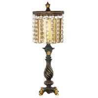 Dimond Lighting 93-090 Amber and Crystal 22 inch 100 watt Black/Gold Leaf Table Lamp Portable Light