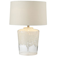 Dimond Lighting Flurry Frit Well 1 Light Boutique Table Lamp in White with Clear 979005