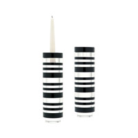 Slices Tuxedo Clear and Black Candleholder