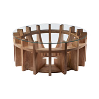 Dimond Home Sundial Coffee Table in Natural Mango Mango Wood and Glass 985-038