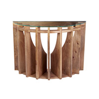 Dimond Home Sundial Console Table in Natural Mango Mango Wood and Glass 985-039