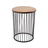 Dimond Home Carousel Accent Table in Bronze And Teak Teak and Iron 985-045