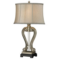 Silver Harp 17 inch 100 watt Silver Leaf Table Lamp Portable Light