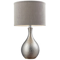 Hammered 22 inch 60 watt Chrome Plated Table Lamp Portable Light in Incandescent