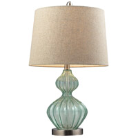 Dimond Lighting Signature 1 Light Table Lamp in Light Green Smoke Glass and Metal D141