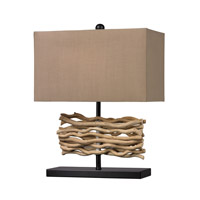 Natural Driftwood 21 inch 100 watt Black and Natural Table Lamp Portable Light in Incandescent