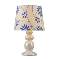 Dimond Harmony Table Lamp in Pearlescent White with Gala White Shade and White Liner D1595