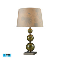 Dimond Lighting Sharon Hill 1 Light Table Lamp in Vivi Green And Polished Nickel D1611-LED