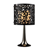 Dimond Colima Table Lamp in Black Nickel with Black Laser Cut Acrylic Outer Shade and Cream Shantung Inner Shade D1707