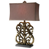 Dimond Lighting D1842 Roseville 30 inch 150 watt Oriole Gold Leaf Table Lamp Portable Light