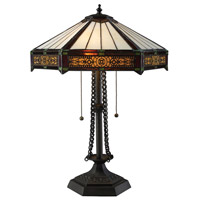 Filigree 22 inch 60 watt Tiffany Bronze Table Lamp Portable Light