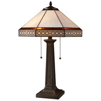 Stone Filigree 24 inch 60 watt Tiffany Bronze Table Lamp Portable Light