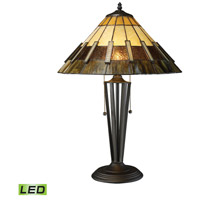 Porterdale 23 inch 9.5 watt Tiffany Bronze Table Lamp Portable Light in LED