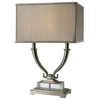 Roberts 24 inch 100 watt Polished Nickel and Clear Crystal Table Lamp Portable Light in Incandescent