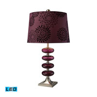 Dimond Lighting Vidrio 1 Light Table Lamp in Brushed Steel And Plum Blown Glass D1880-LED