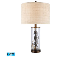Largo 26 inch 13.5 watt Bronze And Clear Glass Table Lamp Portable Light in LED