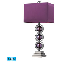 Alva 27 inch 13.5 watt Purple / Black Nickle Table Lamp Portable Light in LED