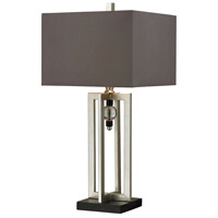 Crystal Accent 30 inch 150 watt Silver Leaf and Black Table Lamp Portable Light in Incandescent